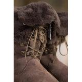 Carregadores longos das mulheres da forma do colar de lãs da pele de carneiro no chocolate