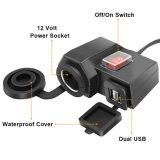 La abrazadera del manillar del cargador del adaptador de la potencia del divisor del socket del alumbrador del cigarrillo de la C.C. 12V de la motocicleta impermeabiliza 2 USB 5V portuario 2.1A/1A para la carga del GPS del teléfono celular