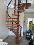 Мягкая сталь деревянные лестницы гриль дизайн Spiiral лестницы