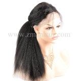 El cabello humano 100% de la Kinky completa recta peluca de encaje