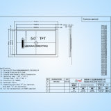 """5.0 """" der Farben-TFT 480X272 Baugruppen-Touch Screen Syc480272D050V8850 Punkte LCD-der Bildschirmanzeige-LCM mit IS Ra8875"""