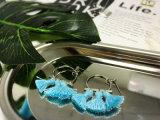Het buitensporige Geplateerde Koper van de Namaakbijouterie Zilver/Oorring van de Hoepel van de Draad van de Legering de Blauwe
