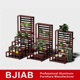 Kundenspezifisches moderne rote Teakholz-Ausgangsmöbel-Aluminiumblumen-Regal