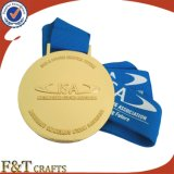 Medalla de encargo al por mayor de la hebra del oro del metal del regalo de la promoción de la medalla del deporte