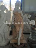 Senhora de mármore Estátua do jardim com fonte