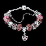 Pulsera ajustable en forma de corazón rosada de los granos de cristal de DIY para las mujeres