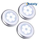 6 Lichte, Draadloze LEIDENE Op batterijen van de LEIDENE het Ronde Sensor van de Motie Licht van de Nacht