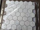 Белая стеклянная плитка мозаики для кухни и золотистой отборной плитки шестиугольника плитки стены мозаики