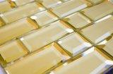 功妙な壁は金ライン長いストリップのテンプレートガラスのモザイクをタイルを張る
