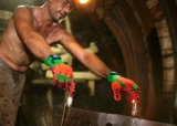 TPR 충격 방지 대나무 니트릴 코팅을%s 가진 섬유에 의하여 뜨개질을 하는 일 장갑