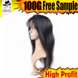 8 인치 Yaki 캄보디아 머리 가득 차있는 레이스 가발