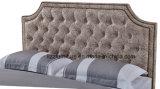 고전적인 연약한 침실 가구 가죽 2인용 침대 세트