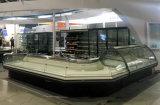 De delicatessenwinkel Gebogen Diepvriezer van de Ijskast van de Showcase van de Voordeur van het Glas