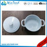 Comercial Venta caliente Restaurante Buffet porcelana blanca Cocotte con tapa y asa