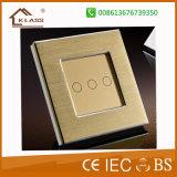 colore dorato BRITANNICO degli interruttori chiari della parete di tocco 1gang