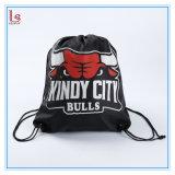卸し売り安いバックパックの黒はロゴによって決め付けられた昇進のドローストリング袋をカスタマイズした