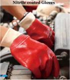 Перчатки нитрила вкладыша хлопка Джерси красные польностью Coated с тумаком безопасности