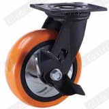 4 polegadas da roda de poliuretano Laranja Rodízio Industrial para Serviço Pesado