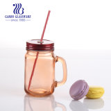 500ml bocal en verre coloré avec couvercle et la paille (GB2517-QPB)