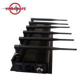 6 de UHF-radio van de Telefoon +VHF/van de Cel van het kanaal 2g 3G 4G Draagbare Regelbare Stoorzender, de Stoorzender/Blocker van het Signaal van de Telefoon van de Hoge Macht van de Desktop met Batterij
