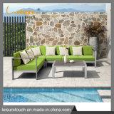 Outdoor mesa e cadeira de madeira plástica Pátio de alumínio Mobiliário Conjunto sofá de Lazer