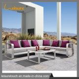 Jardim Leisure Champanhe transversal em alumínio escovado sofá-defina a mobília do pátio