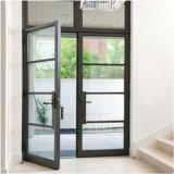 precio de fábrica de vidrio Low-E de la puerta exterior de aluminio con doble columpio puerta francesa