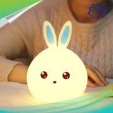 Novo Estilo de luz LED de coelho para crianças crianças Bebé do leito de Silicone multicor da lâmpada do sensor de Toque Toque Luz nocturna de Controle