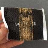 Custom 75D de alta densidad de textura satinada etiqueta tejida de prendas de vestir