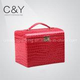 Boîte à bijoux en cuir de style PU rouge