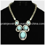 Joyería de moda de verano/ 2013 Material de aleación de zinc con antiguos chapado en plata de acrílico resina verde Beadsethnic grandes joyas collares (PN-109)