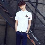Kurze Unisexhülsen-weißes Baumwollhemd für hohe Schuluniform