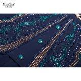Miss Выа Ailinna 101974-1 длиной ровный напечатанный флористический a - линия изготовление платья