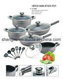 Il Cookware economizzatore d'energia del POT del POT di alluminio rivestito di ceramica antiaderante della salsa imposta Sx-A009