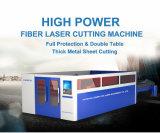 Máquina de estaca Lm3015h da folha do metal do laser da fibra com tampa cheia