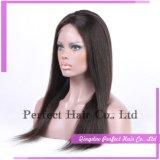 Mejor vendedor 100% seda cabello humano completo recto superior encaje peluca