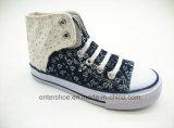 ひもで締めなさい男の子(ET-LD160198K)のためのジーンズの子供の偶然靴を