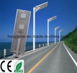 Diodo emissor de luz todo da energia em uma luz de rua solar ao ar livre com sensor 50W de PIR