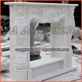 Cornija de lareira francesa Mf1708 da bordadura de mármore branca ornamentado da chaminé