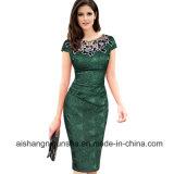 Вышивка женщин элегантные короткие втулки вечер платье Ппзу Openboot