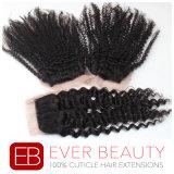закрытие шнурка человеческих волос 4X4 индийское курчавое Remy