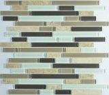 Mistura de vidro do mosaico da listra com mosaico de pedra