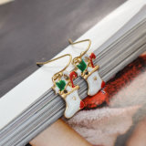 크리스마스 선물 여자를 위한 백색 사기질 크리스마스 스타킹 하락 귀걸이