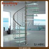 屋内アークの高い緩和されたガラスのステアケースはステンレス鋼の手すりと要した