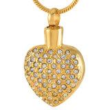 Jóias Jóias Coração de Cristal Colar em aço inoxidável mulheres cremação joalharia