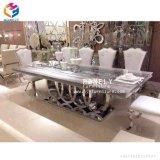 Tabella pranzante superiore Hly-St14 dell'acciaio inossidabile del marmo della mobilia della sala da pranzo di Morden