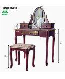 Vaidade Merax definir com molho de fezes de maquilhagem mesa com 3 gavetas e Espelho Quarto (Cherry)