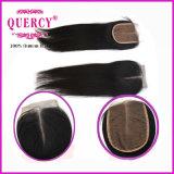 Chiusura superiore di seta del merletto dei capelli diritti di Remy del Virgin indiano brasiliano umano di 100%