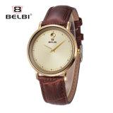 Montre en cuir simple occasionnelle neutre de mode d'hommes et de femmes de montre d'affaires de Belbi