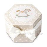 カスタム六角形のクリスマスの小型馬の蝋燭ボックスカップケーキボックス